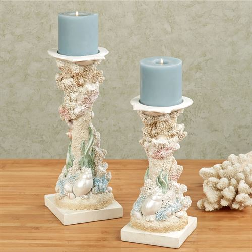 Pearl Beach Candleholders Multi Pastel Set of Two