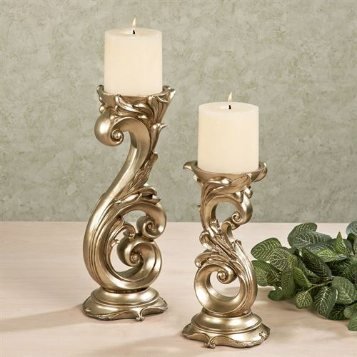 Florianna Candleholders Champagne Gold Set of Two