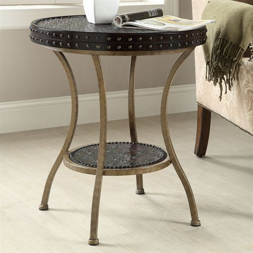 Baylor Round Accent Table Black/Gold