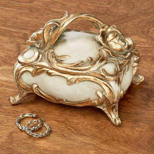 Eliza Rose Covered Box Ivory/Gold