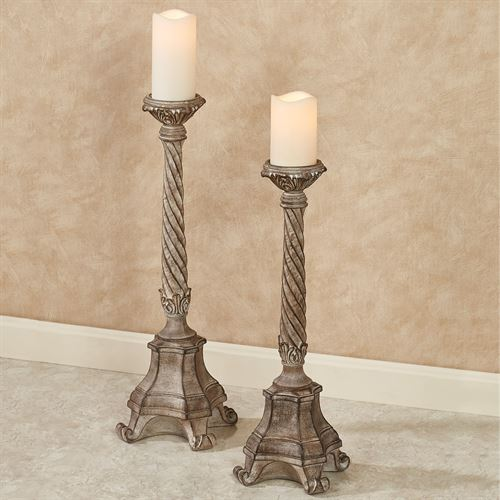 Andreana Floor Candleholders Taupe Set of Two