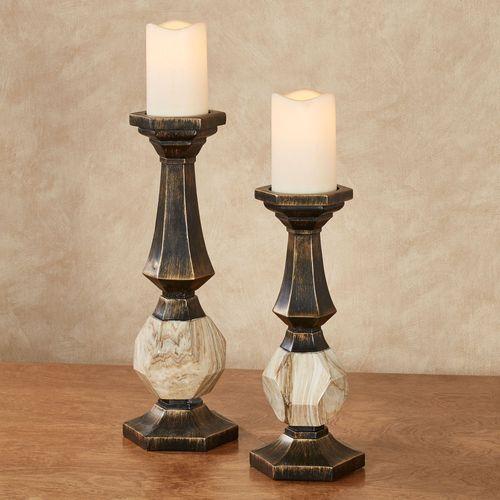 Zane Candleholders Black/Gold Set of Two