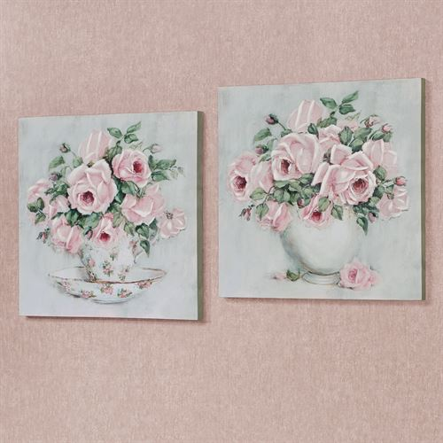 Rose d Amour Floral Canvas Wall Art Pink Set of Two