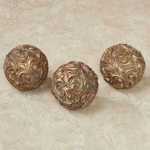 Astrella Decorative Orbs Aged Gold Set of Three