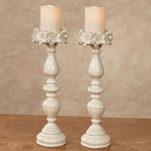 Magnolias Candleholders Antique White Pair