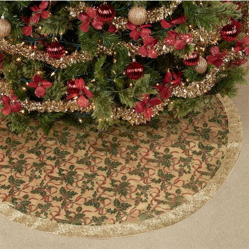 Holly Ribbon Christmas Tree Skirt Gold 48 Diameter
