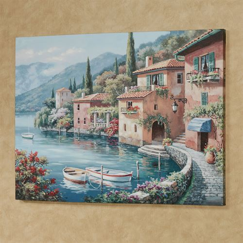 Italian Harbor Canvas Wall Art Multi Warm