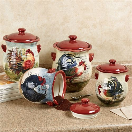 Le Rooster Kitchen Canisters