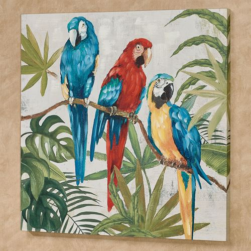Parrots in Paradise Canvas Wall Art Multi Bright
