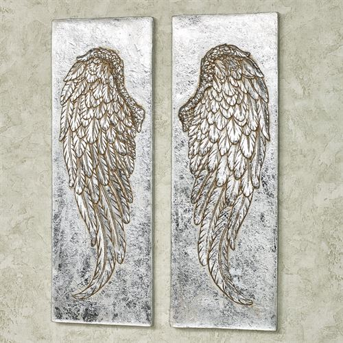 Silver Wing Wall Plaques Set of Two