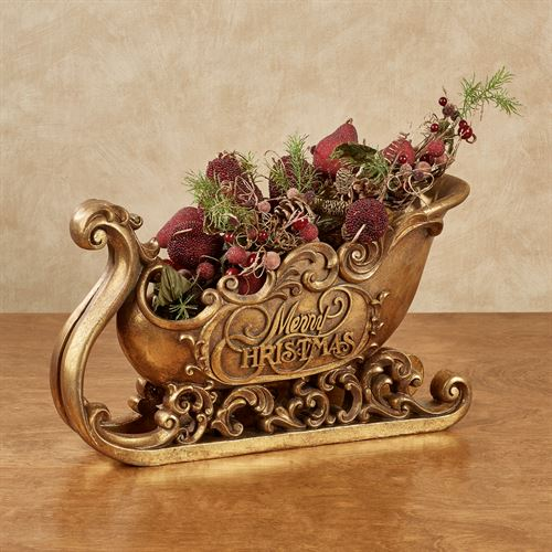 Merry Christmas Sleigh Accent Gold