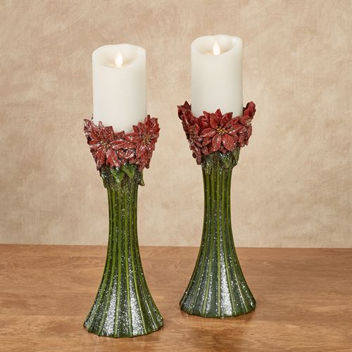 Poinsettia Candleholders Red Pair