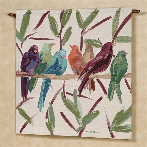 Flocked Together Wall Tapestry Multi Warm 35 x 35