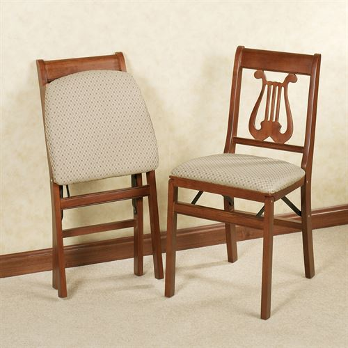 Lyre Folding Chairs Cherry Set of Two