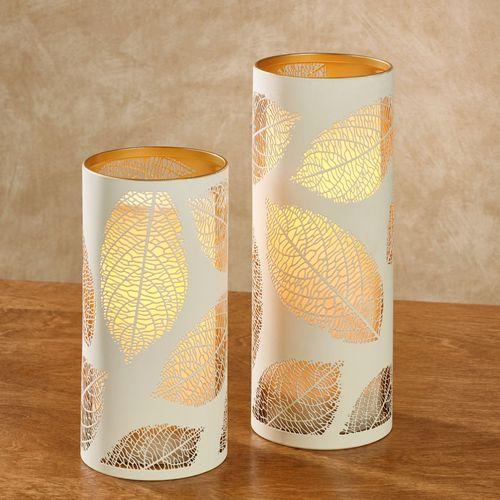 Luminary Leaf LED Flameless Candles Ivory Set of Two