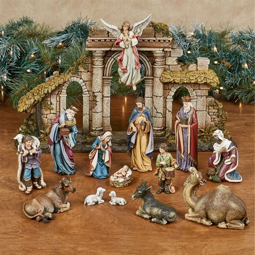 Heirloom Nativity Figures Multi Warm Fifteen Piece Set