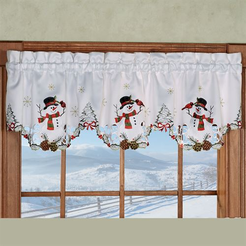 Wintertime Friends Scalloped Valance White 58 x 12
