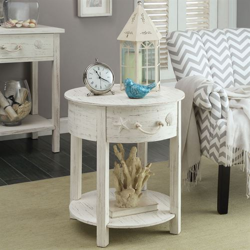 Harbor Main Round Accent Table White