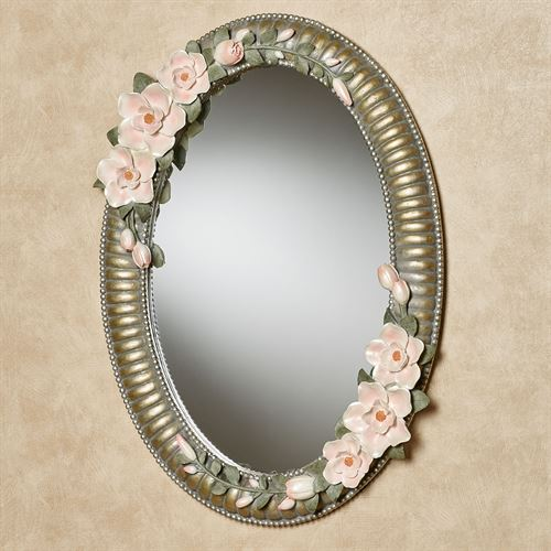 Magnolia Elegance Oval Wall Mirror Champagne Gold