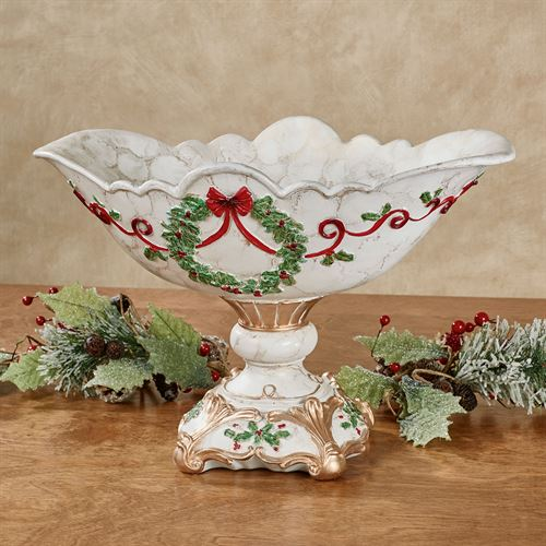 Holly Delight Decorative Centerpiece Bowl Red