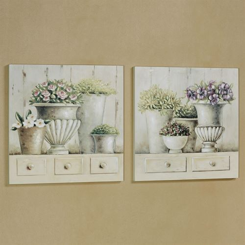 Potted Arrangements Wall Art Plaques Multi Pastel Set of Two