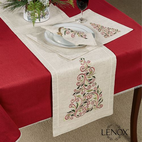 French Perle Tree Table Runner Natural 14 x 70