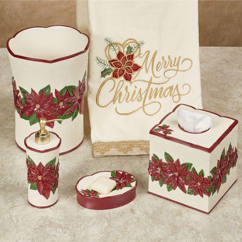Poinsettia Charm Holiday Bath Accessories