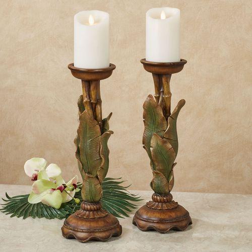 Bamboo Tropics Candleholders Green Pair