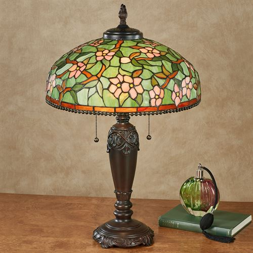 Amara Stained Glass Table Lamp Multi Pastel Each with LED Bulbs