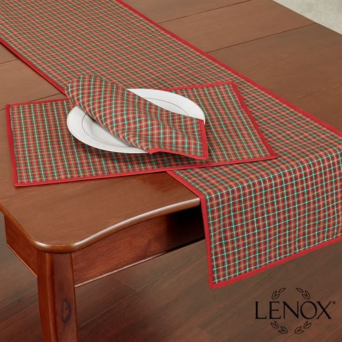 Holiday Nouveau Joyful Table Runner Red 14 x 70