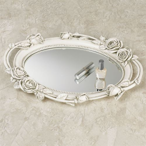 Rose Melody Mirrored Vanity Tray Antique White