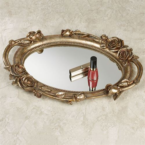 Rose Melody Mirrored Vanity Tray Venetian Gold