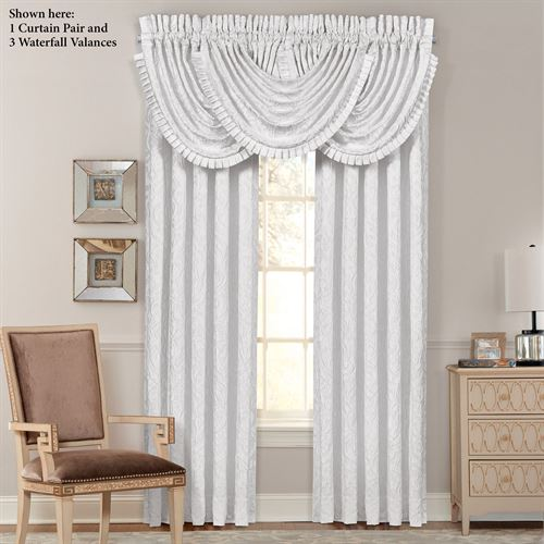 Astoria Damask Scroll Tailored Curtain Pair Off White 98 x 84