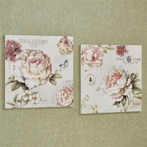 Flower Garden Wall Art Plaques Multi Pastel Set of Two