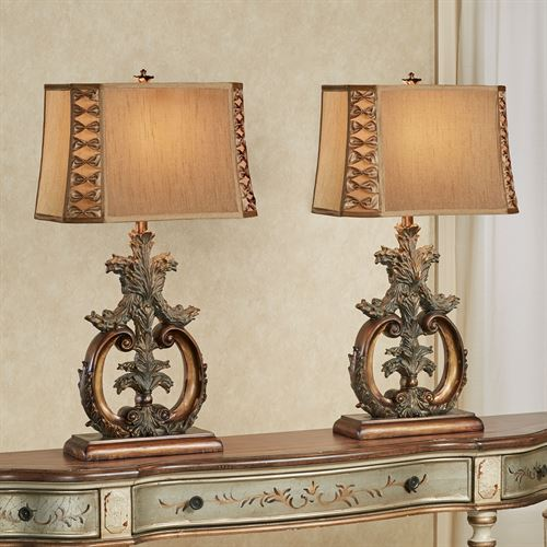 Corinth Table Lamp Pair Antique Gold