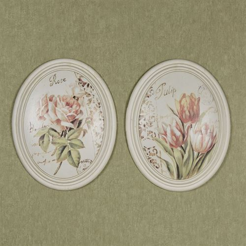 Serene Beauties II Wall Plaques Multi Pastel Set of Two