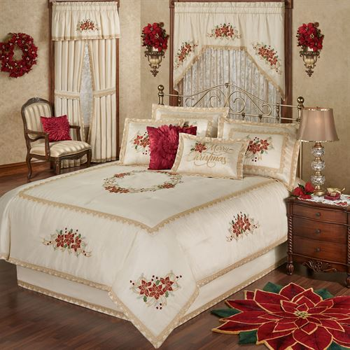 Poinsettia Palace Comforter Set Champagne