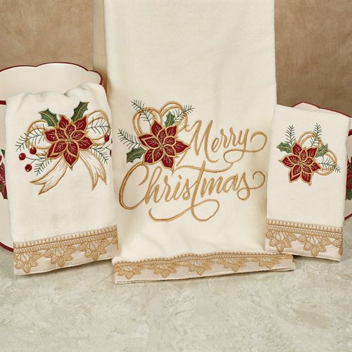 Poinsettia Palace Bath Towel Set Light Cream Bath Hand Fingertip