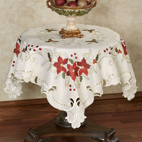 Poinsettia Palace Table Topper Champagne 42 x 42