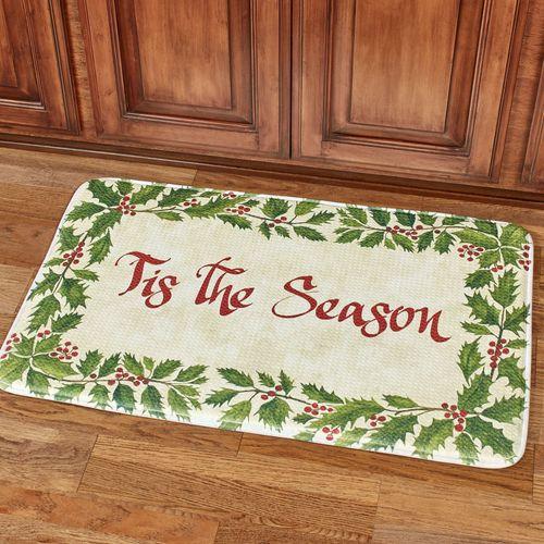 Tis the Season Cushioned Rectangle Christmas Mat Green 35 x 22