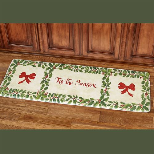 Tis the Season Cushioned Runner Holiday Mat Green 55 x 20