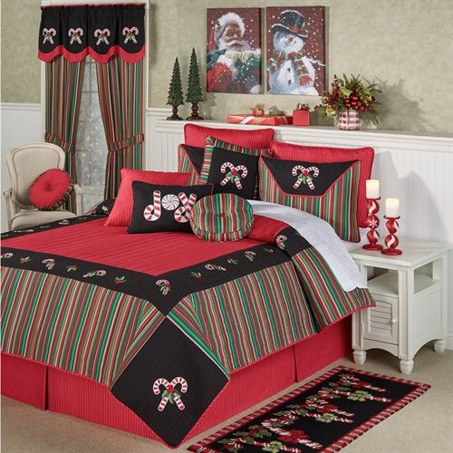 Peppermint Dreams Quilt Set Red