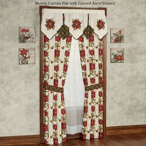 Holiday Traditions Layered Ascot Valance Light Cream 72 x 20