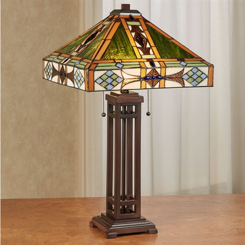 Javier Stained Glass Table Lamp Bronze Each with LED Bulbs