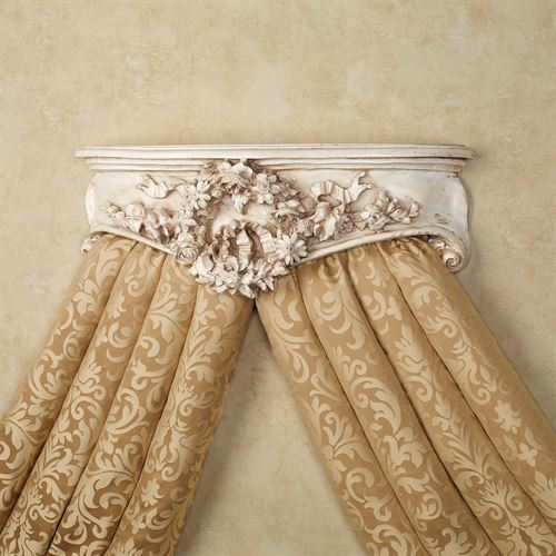 Floral Wreath Wall Teester Bed Crown Old World White