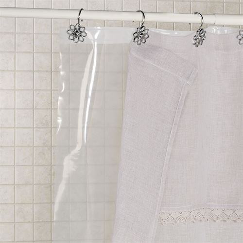 Clear Heavy Duty Shower Curtain Liner with Weighted Hem