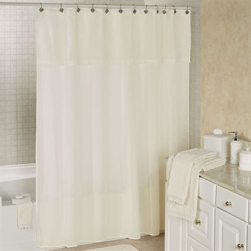 Sylvia Light Cream Semi Sheer Shower Curtain by Piper & Wright