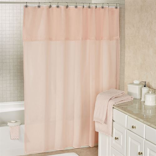 Sylvia Pale Blush Semi Sheer Shower Curtain by Piper & Wright