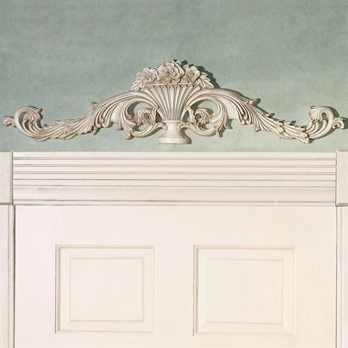 Carved Urn Scroll Topper Antique White