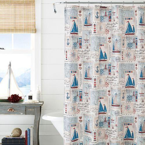Harbor Nautical Shower Curtain Pale Blue 72 X
